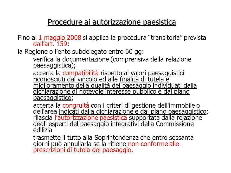 Procedure ai autorizzazione paesistica Fino al 1 maggio 2008 si applica la procedura transitoria prevista dallart. 159: la Regione o lente subdelegato