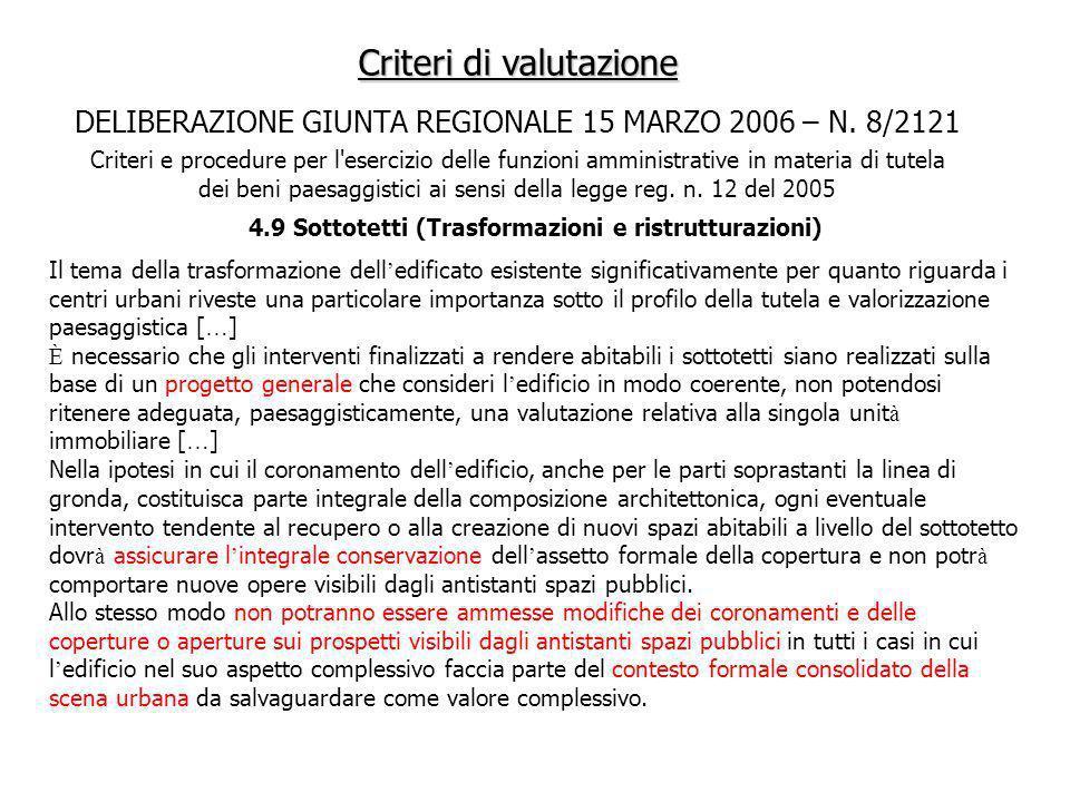 Criteri di valutazione Criteri di valutazione DELIBERAZIONE GIUNTA REGIONALE 15 MARZO 2006 – N. 8/2121 Criteri e procedure per l'esercizio delle funzi
