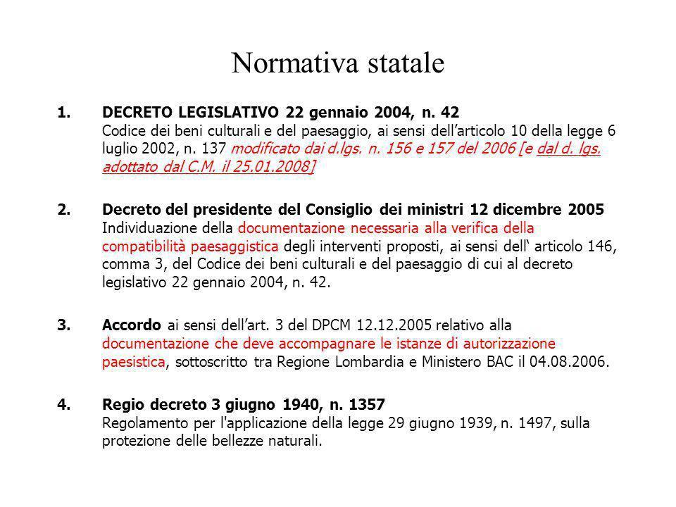 Normativa statale 1.DECRETO LEGISLATIVO 22 gennaio 2004, n. 42 Codice dei beni culturali e del paesaggio, ai sensi dellarticolo 10 della legge 6 lugli