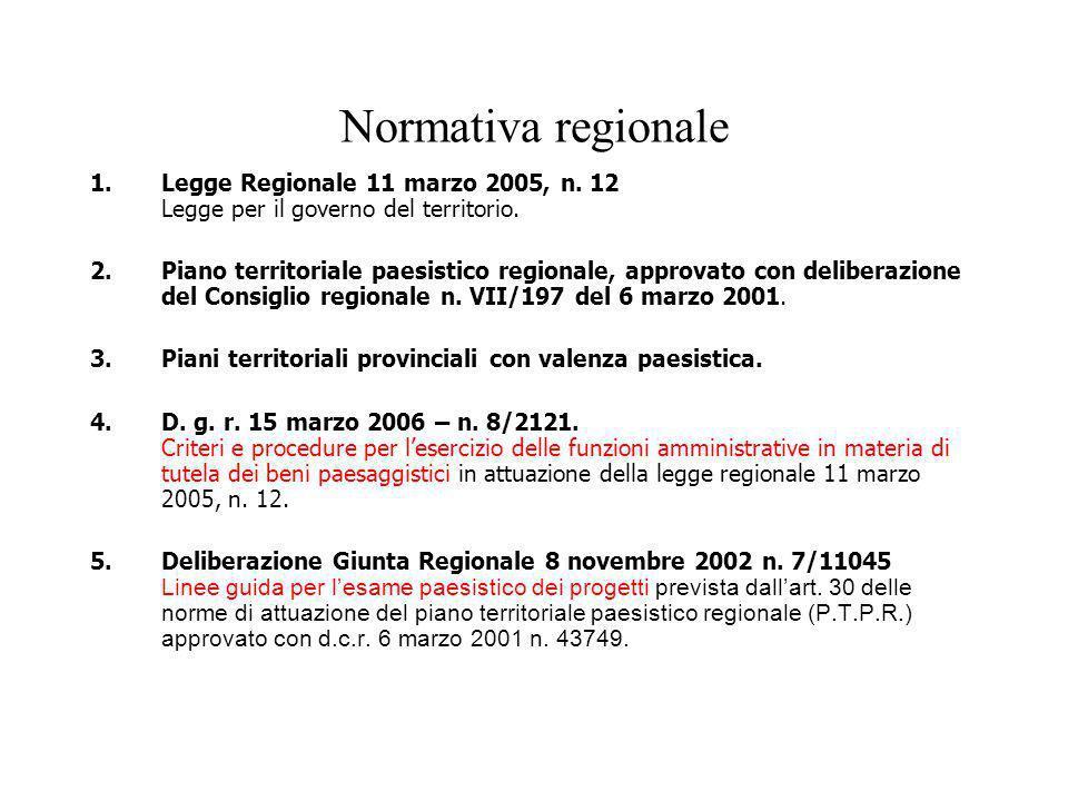 Normativa regionale 1.Legge Regionale 11 marzo 2005, n. 12 Legge per il governo del territorio. 2.Piano territoriale paesistico regionale, approvato c