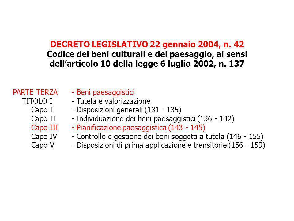 DECRETO LEGISLATIVO 22 gennaio 2004, n. 42 Codice dei beni culturali e del paesaggio, ai sensi dellarticolo 10 della legge 6 luglio 2002, n. 137 PARTE