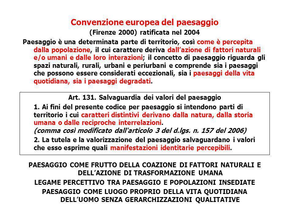 Convenzione europea del paesaggio (Firenze 2000) ratificata nel 2004 Paesaggio è una determinata parte di territorio, così come è percepita dalla popo