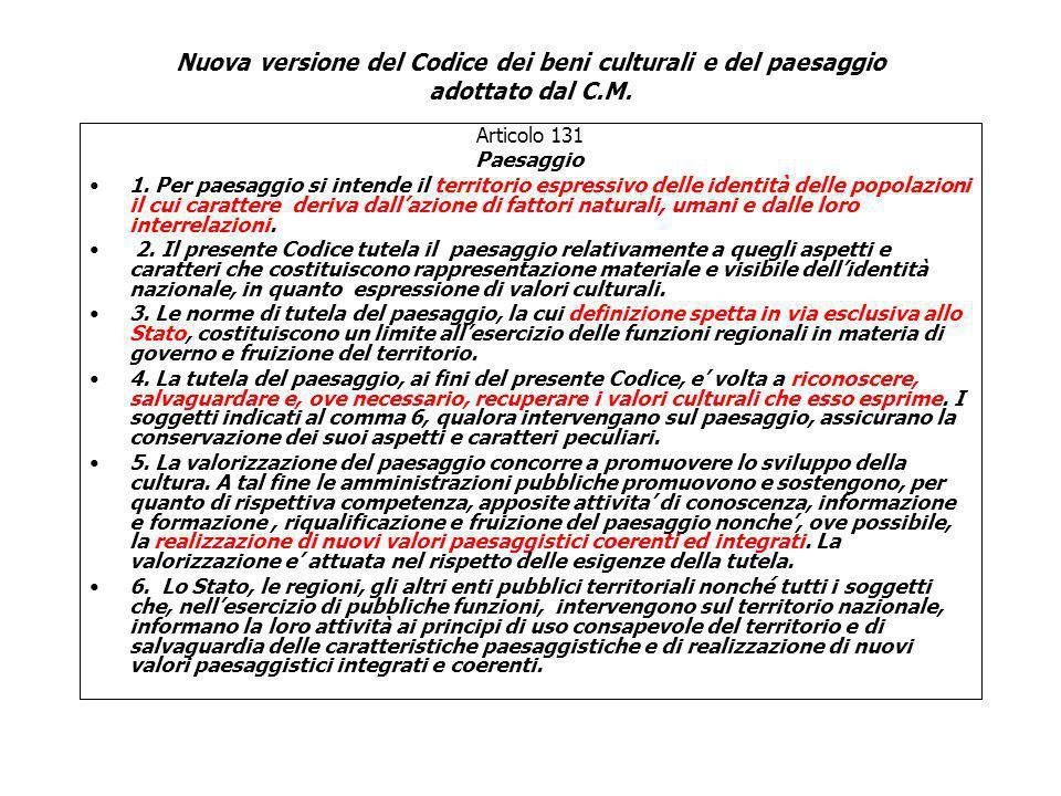 Articolo 131 Paesaggio 1. Per paesaggio si intende il territorio espressivo delle identità delle popolazioni il cui carattere deriva dallazione di fat