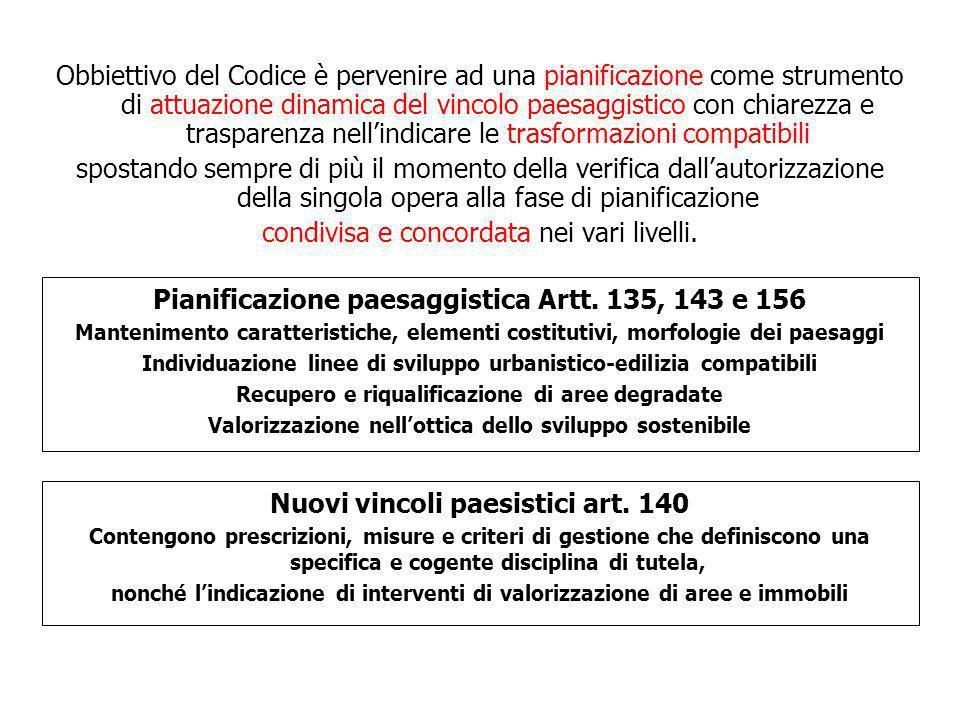 Obbiettivo del Codice è pervenire ad una pianificazione come strumento di attuazione dinamica del vincolo paesaggistico con chiarezza e trasparenza ne