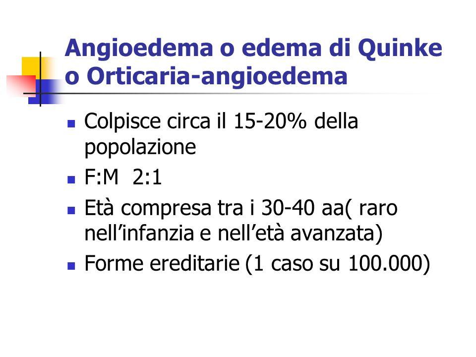Angioedema o edema di Quinke o Orticaria-angioedema Colpisce circa il 15-20% della popolazione F:M 2:1 Età compresa tra i 30-40 aa( raro nellinfanzia e nelletà avanzata) Forme ereditarie (1 caso su 100.000)