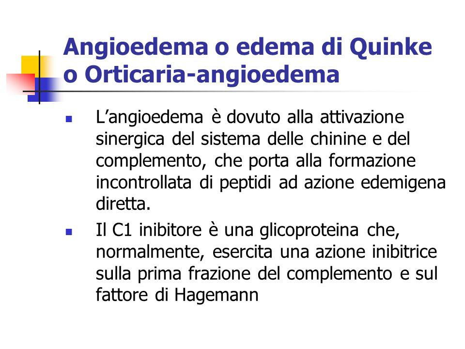 Angioedema o edema di Quinke o Orticaria-angioedema Langioedema è dovuto alla attivazione sinergica del sistema delle chinine e del complemento, che porta alla formazione incontrollata di peptidi ad azione edemigena diretta.