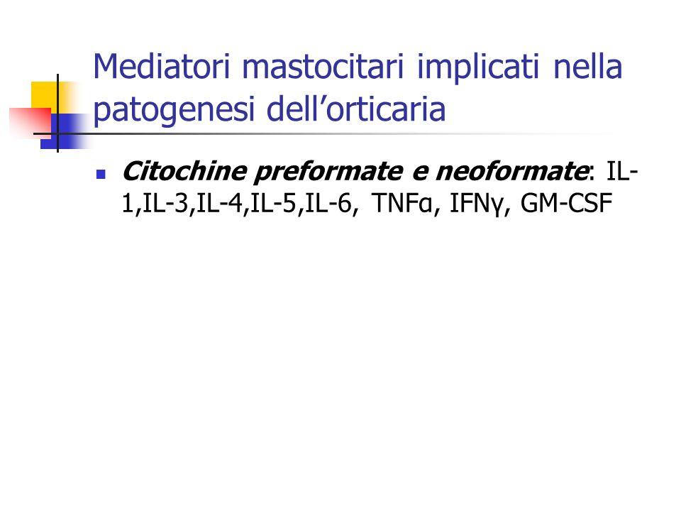 Mediatori mastocitari implicati nella patogenesi dellorticaria Citochine preformate e neoformate: IL- 1,IL-3,IL-4,IL-5,IL-6, TNFα, IFNγ, GM-CSF