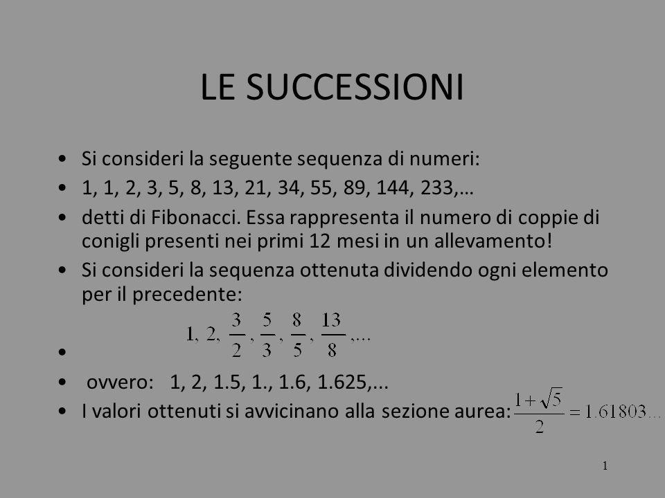2 LE SUCCESSIONI N BLe successioni sono particolari funzioni aventi come dominio linsieme N dei numeri naturali e come codominio un sottoinsieme B proprio dellinsieme dei numeri reali.