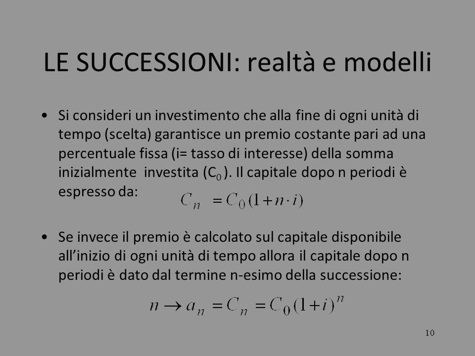 10 LE SUCCESSIONI: realtà e modelli Si consideri un investimento che alla fine di ogni unità di tempo (scelta) garantisce un premio costante pari ad u