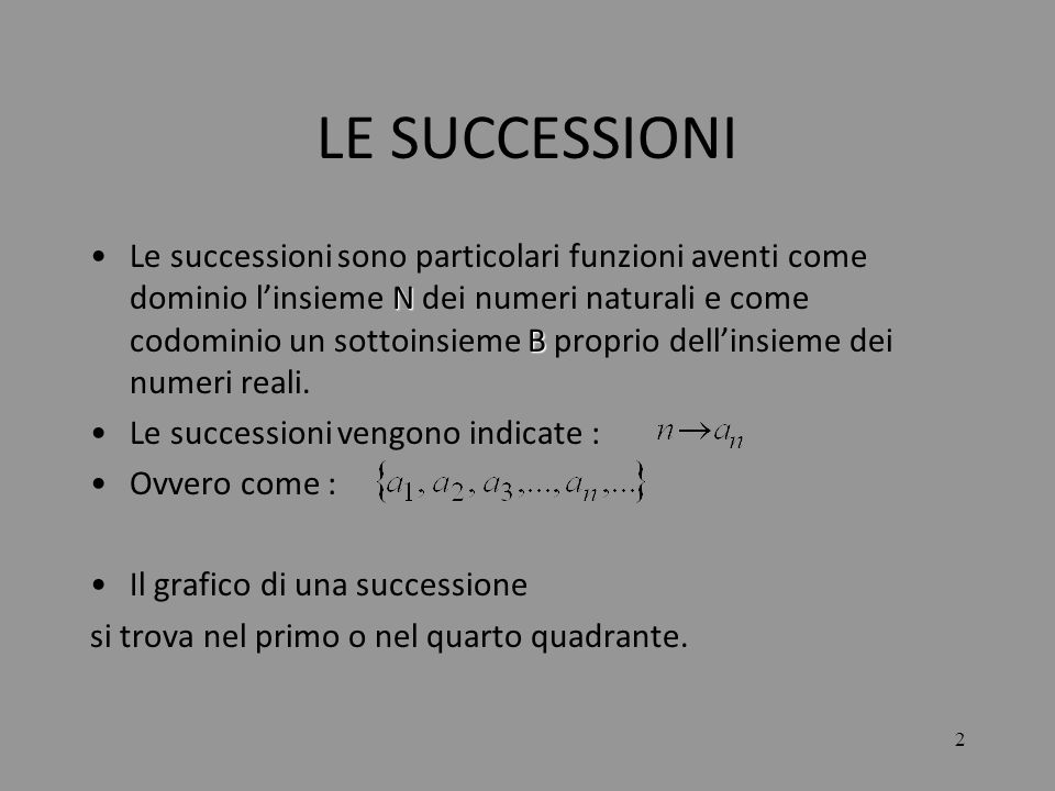 2 LE SUCCESSIONI N BLe successioni sono particolari funzioni aventi come dominio linsieme N dei numeri naturali e come codominio un sottoinsieme B pro