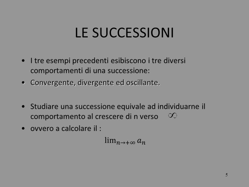 16 LE SUCCESSIONI Nel caso C) si ha: Il numeratore tende ad un numero finito mentre il denominatore tende allinfinito (per la precisione a ), quindi si ottiene: =0 La successione è convergente.