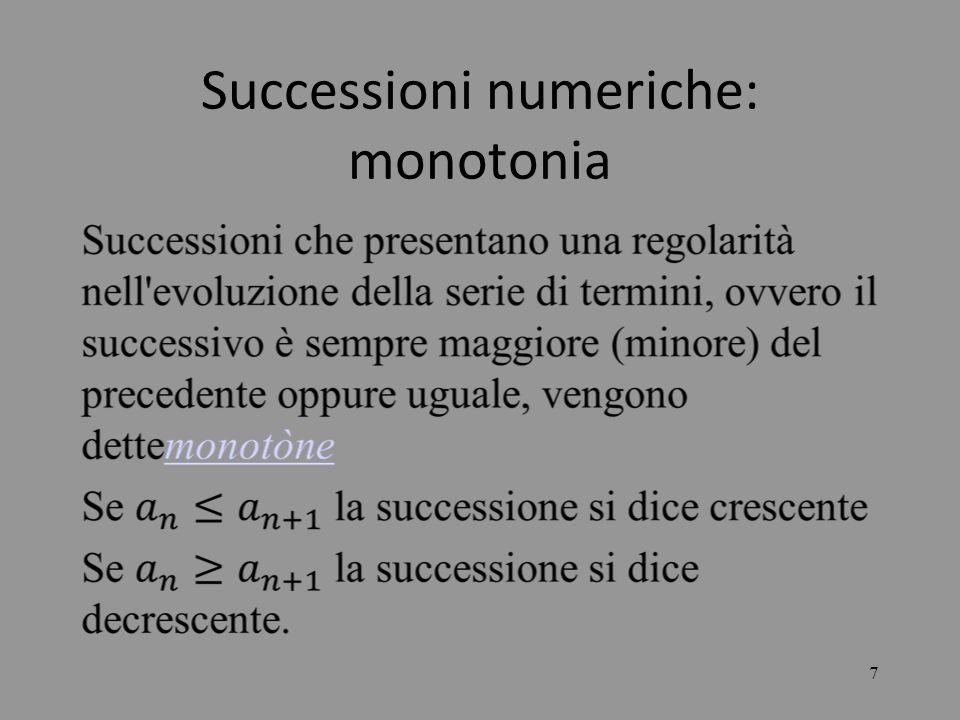 18 LE SUCCESSIONI Per quanto riguarda la successione il cui termine generico ha la forma: si presenta una situazione difficile solo se la la base della potenza tende ad 1 e lesponente tende all, perché si genera la forma indeterminata