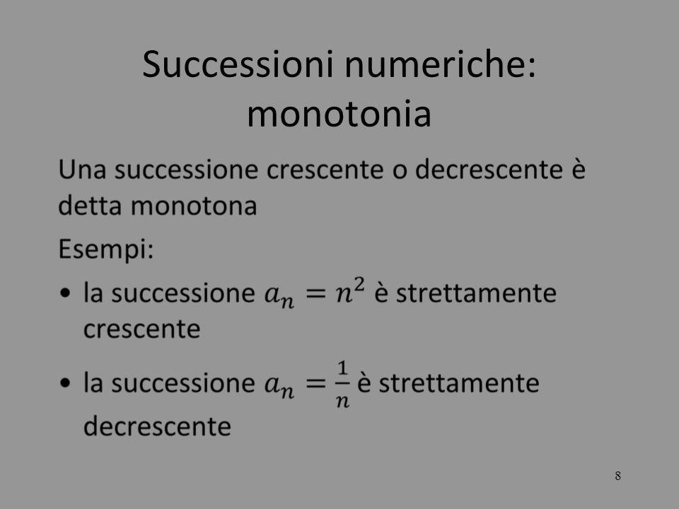 19 LE SUCCESSIONI Si consideri la successione : Essa da luogo alla forma indeterminata e lnma si può dimostrare che tale successione è convergente al numero di Eulero e=2,718… che è la base dei logaritmi neperiani (non naturali!) lnx.
