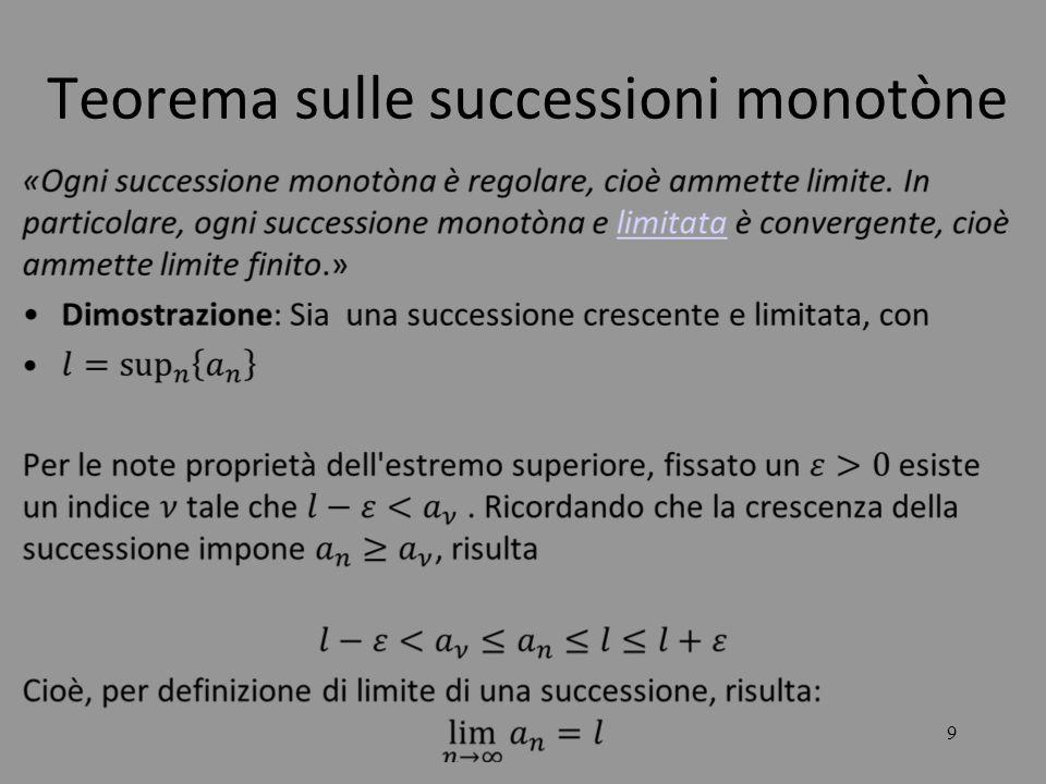 20 LE SUCCESSIONI Si consideri ora la successione: Dove le due successioni e sono divergenti.