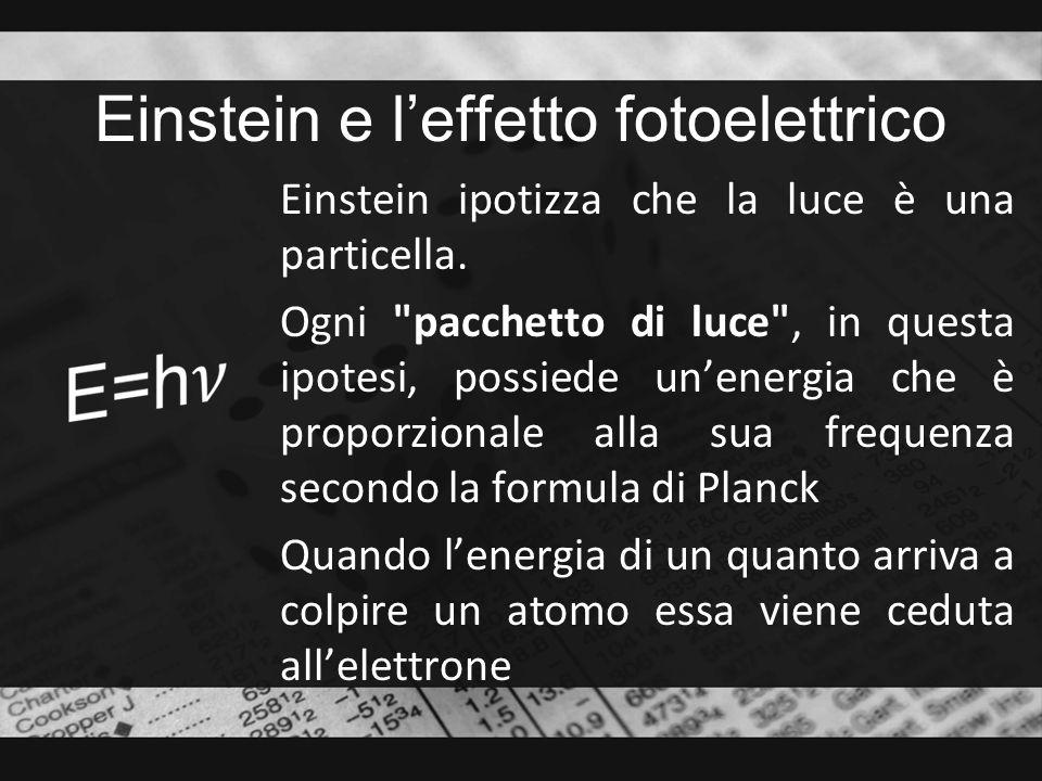Einstein e leffetto fotoelettrico Einstein ipotizza che la luce è una particella. Ogni