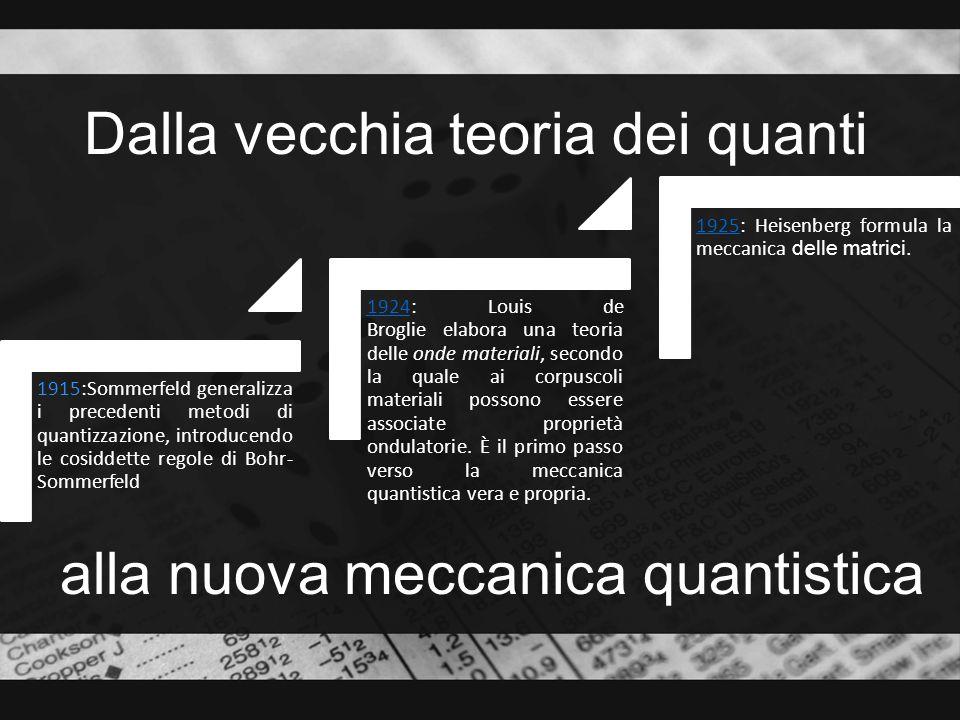 Dalla meccanica quantistica 19261926: Schrödinger elabora la meccanica ondulatoria, che egli stesso dimostra equivalente, dal punto di vista matematico, alla meccanica delle matrici 19271927: Heisenberg formula il principio di indeterminazione; pochi mesi più tardi prende forma la cosiddetta interpretazione di Copenaghen.