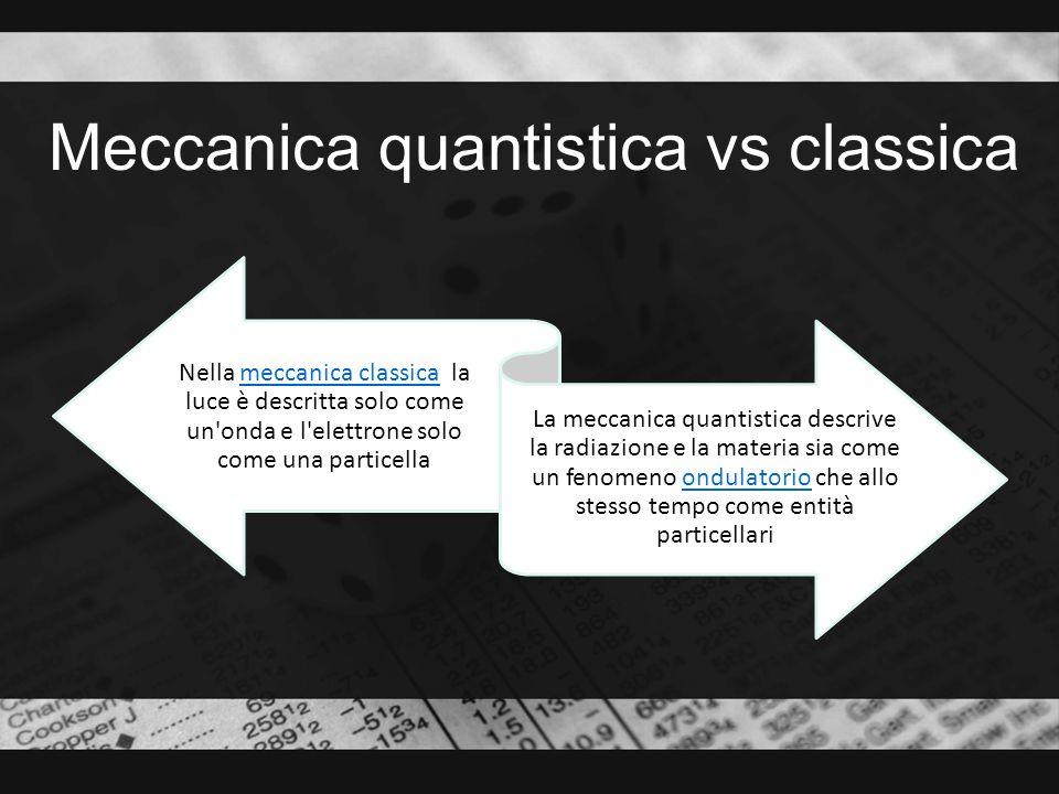 Meccanica quantistica vs classica Nella meccanica classica la luce è descritta solo come un'onda e l'elettrone solo come una particellameccanica class