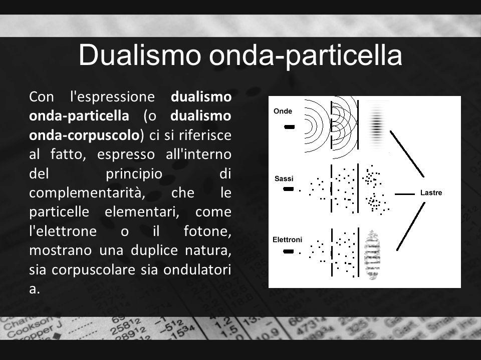 Dualismo onda-particella Con l'espressione dualismo onda-particella (o dualismo onda-corpuscolo) ci si riferisce al fatto, espresso all'interno del pr