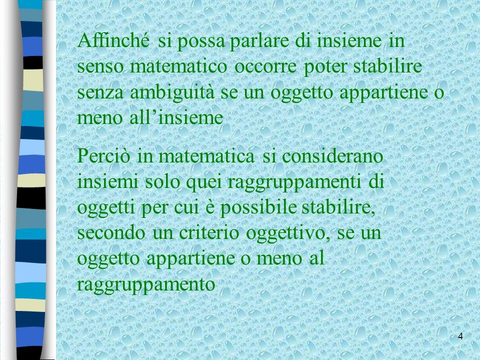 5 n Ad esempio è un insieme matematicamente corretto linsieme delle città della Lombardia.