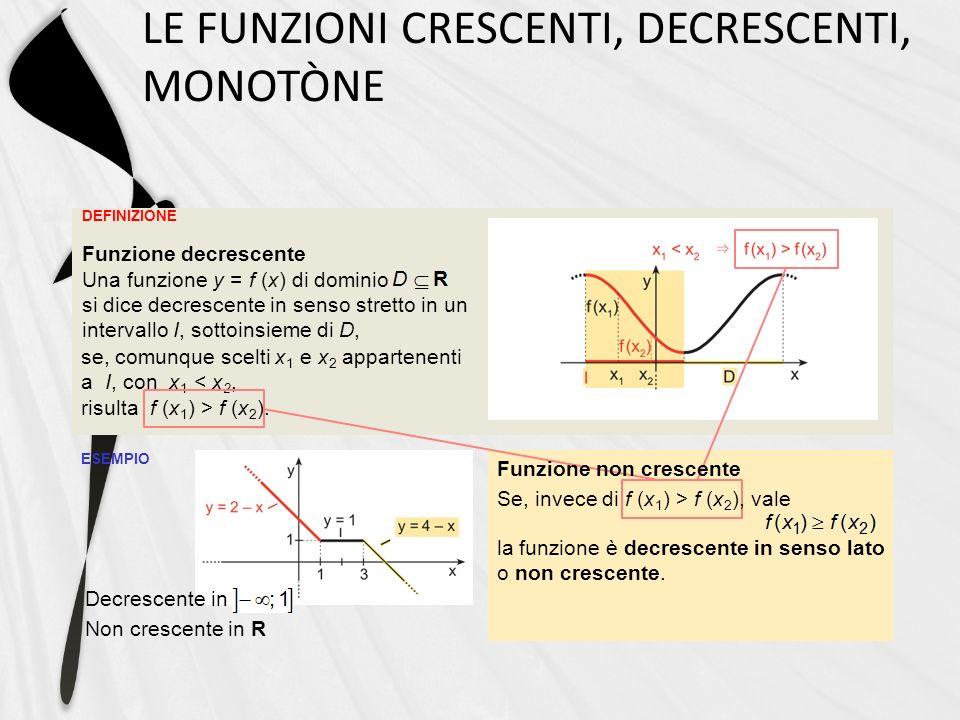 DEFINIZIONE LE FUNZIONI CRESCENTI, DECRESCENTI, MONOTÒNE ESEMPIO Funzione decrescente Una funzione y = f (x) di dominio si dice decrescente in senso s