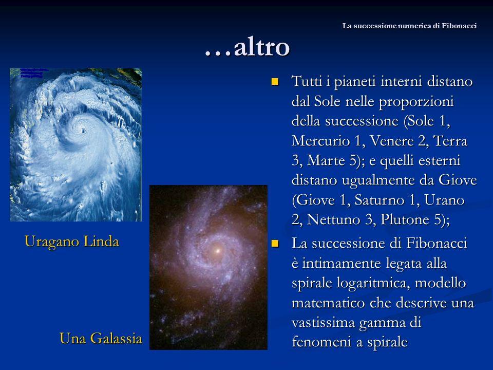 …altro Uragano Linda Tutti i pianeti interni distano dal Sole nelle proporzioni della successione (Sole 1, Mercurio 1, Venere 2, Terra 3, Marte 5); e