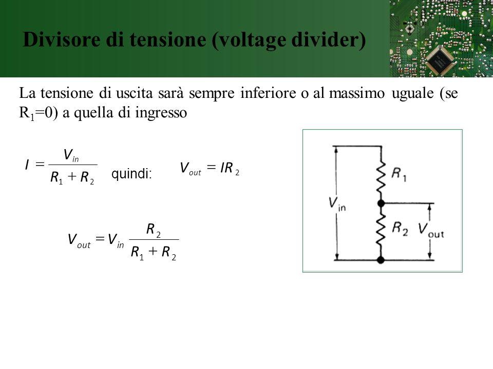 Divisore di tensione (voltage divider) La tensione di uscita sarà sempre inferiore o al massimo uguale (se R 1 =0) a quella di ingresso 21 RR V I in q