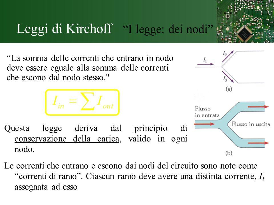 Leggi di Kirchoff I legge: dei nodi La somma delle correnti che entrano in nodo deve essere eguale alla somma delle correnti che escono dal nodo stess