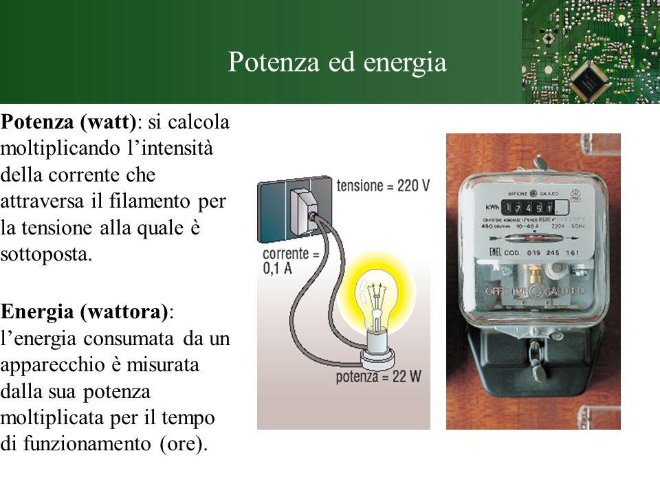Potenza ed energia Potenza (watt): si calcola moltiplicando lintensità della corrente che attraversa il filamento per la tensione alla quale è sottopo
