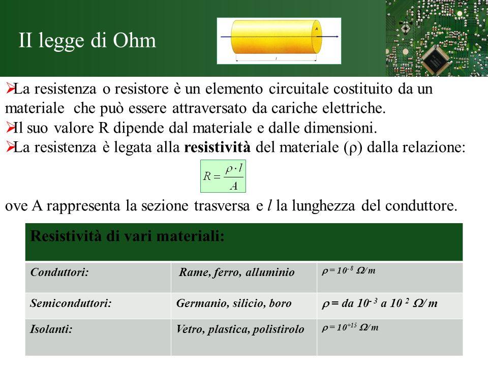 II legge di Ohm La resistenza o resistore è un elemento circuitale costituito da un materiale che può essere attraversato da cariche elettriche. Il su