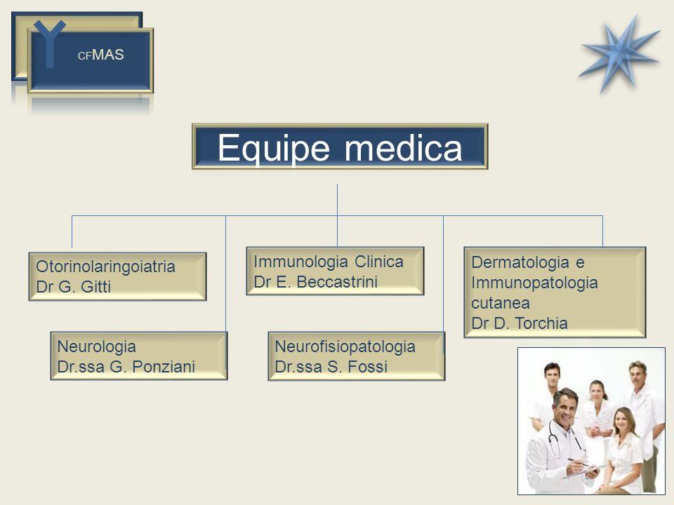 CF MAS Dermatologia e Immunopatologia cutanea Dr D. Torchia Immunologia Clinica Dr E. Beccastrini Otorinolaringoiatria Dr G. Gitti Neurofisiopatologia