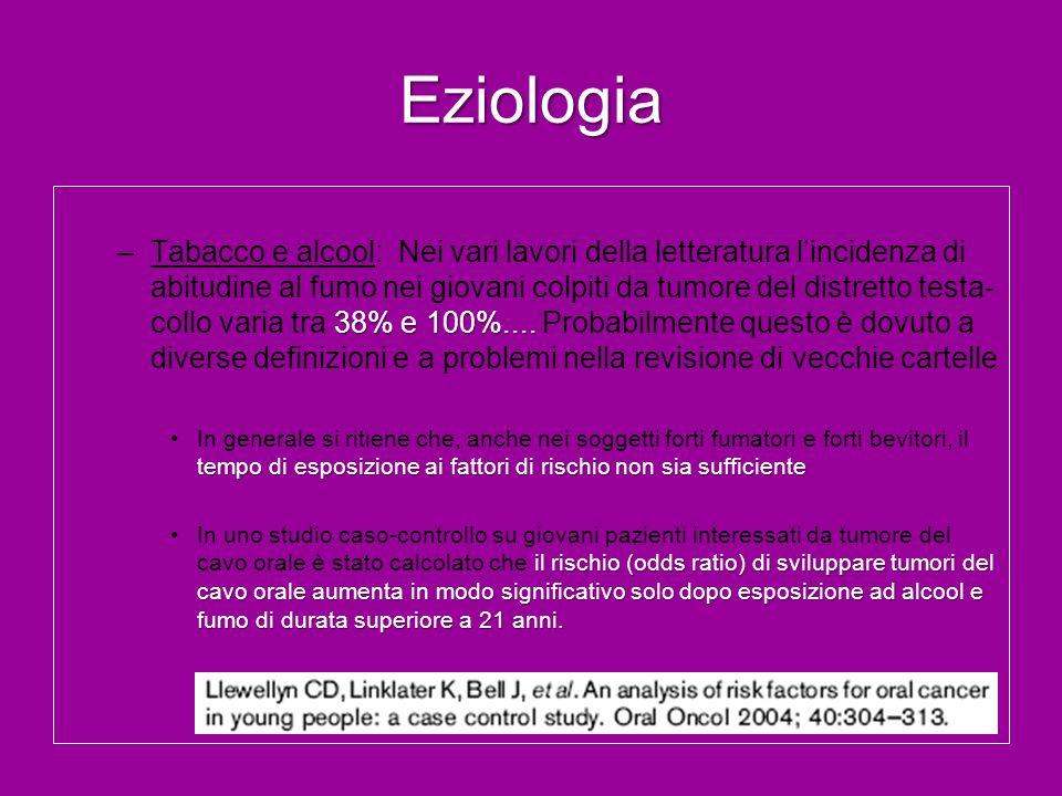 Eziologia 38% e 100%.... –Tabacco e alcool: Nei vari lavori della letteratura lincidenza di abitudine al fumo nei giovani colpiti da tumore del distre