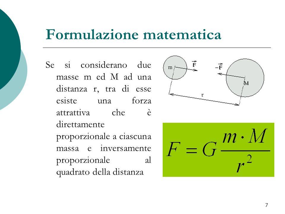 Formulazione matematica Se si considerano due masse m ed M ad una distanza r, tra di esse esiste una forza attrattiva che è direttamente proporzionale