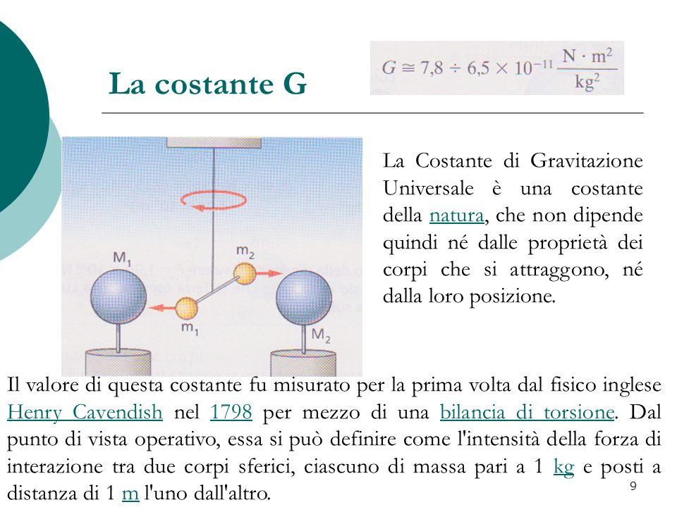 La costante G Il valore di questa costante fu misurato per la prima volta dal fisico inglese Henry Cavendish nel 1798 per mezzo di una bilancia di tor