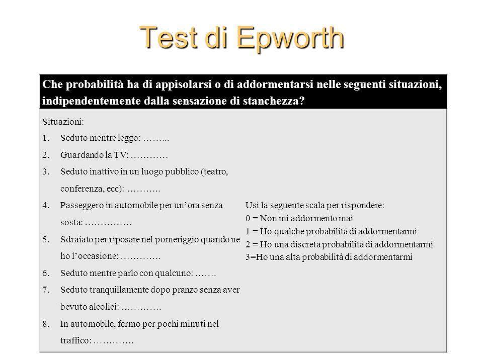 Test di Epworth Che probabilità ha di appisolarsi o di addormentarsi nelle seguenti situazioni, indipendentemente dalla sensazione di stanchezza? Situ