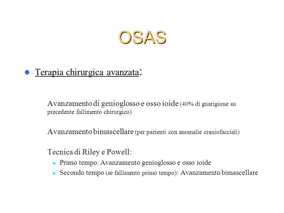 Terapia chirurgica avanzata : – Avanzamento di genioglosso e osso ioide (40% di guarigione su precedente fallimento chirurgico) – Avanzamento bimascel
