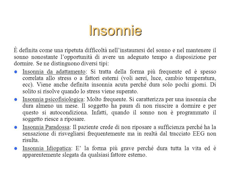 Insonnie È definita come una ripetuta difficoltà nellinstaurarsi del sonno e nel mantenere il sonno nonostante lopportunità di avere un adeguato tempo