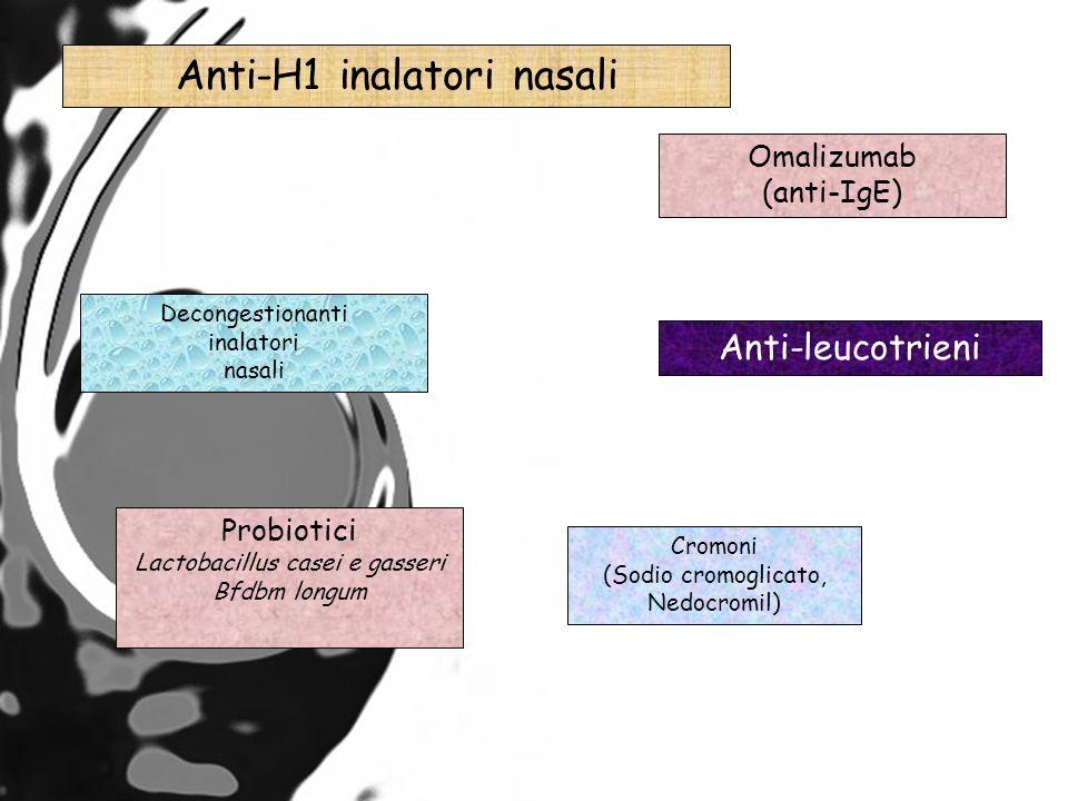 Anti-H1 inalatori nasali Decongestionanti inalatori nasali Anti-leucotrieni Omalizumab (anti-IgE) Cromoni (Sodio cromoglicato, Nedocromil) Probiotici