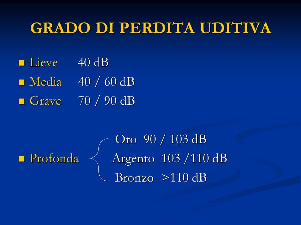 GRADO DI PERDITA UDITIVA Lieve 40 dB Lieve 40 dB Media 40 / 60 dB Media 40 / 60 dB Grave 70 / 90 dB Grave 70 / 90 dB Oro 90 / 103 dB Oro 90 / 103 dB P