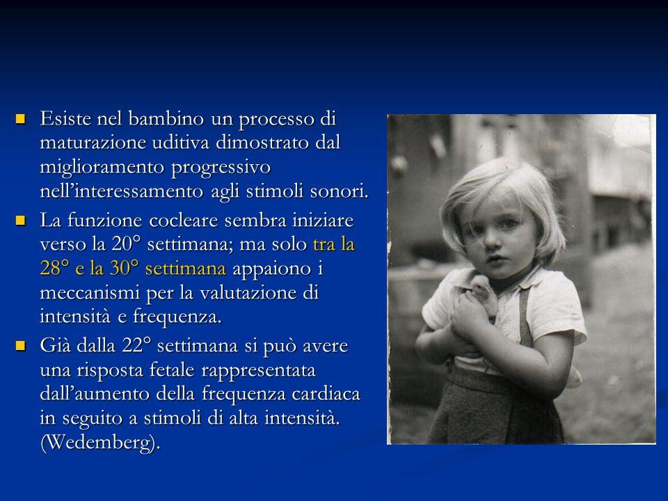 Esiste nel bambino un processo di maturazione uditiva dimostrato dal miglioramento progressivo nellinteressamento agli stimoli sonori. Esiste nel bamb