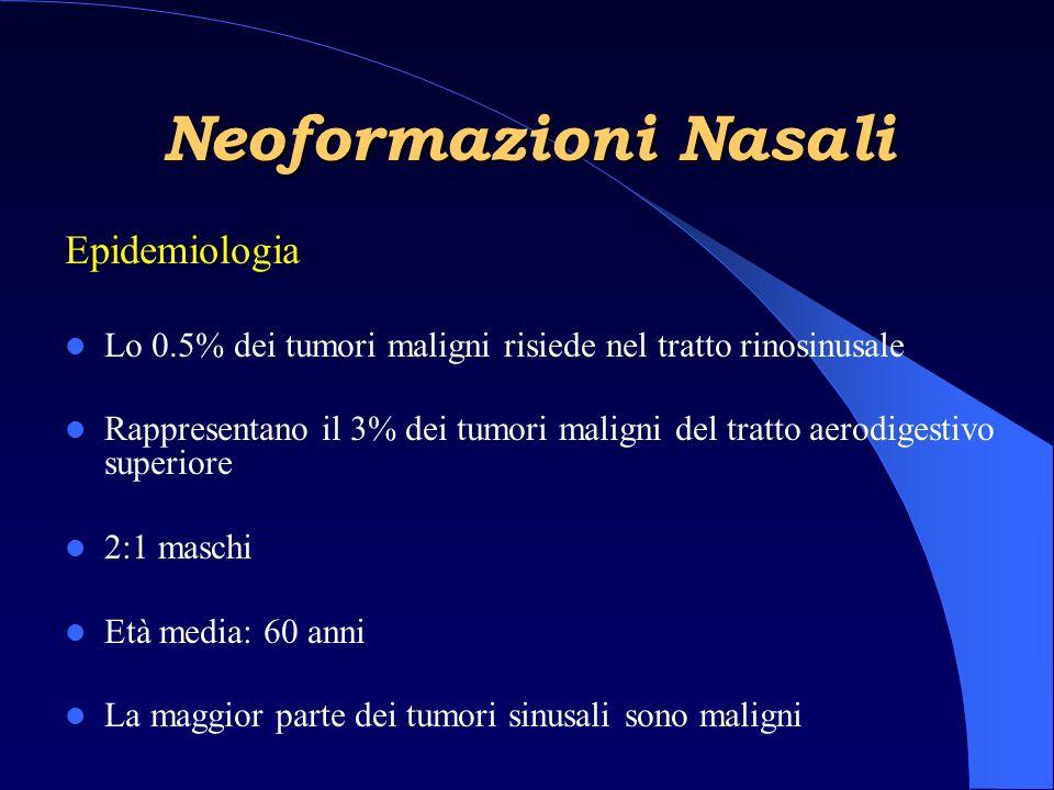 Neoformazioni Nasali Epidemiologia Lo 0.5% dei tumori maligni risiede nel tratto rinosinusale Rappresentano il 3% dei tumori maligni del tratto aerodigestivo superiore 2:1 maschi Età media: 60 anni La maggior parte dei tumori sinusali sono maligni