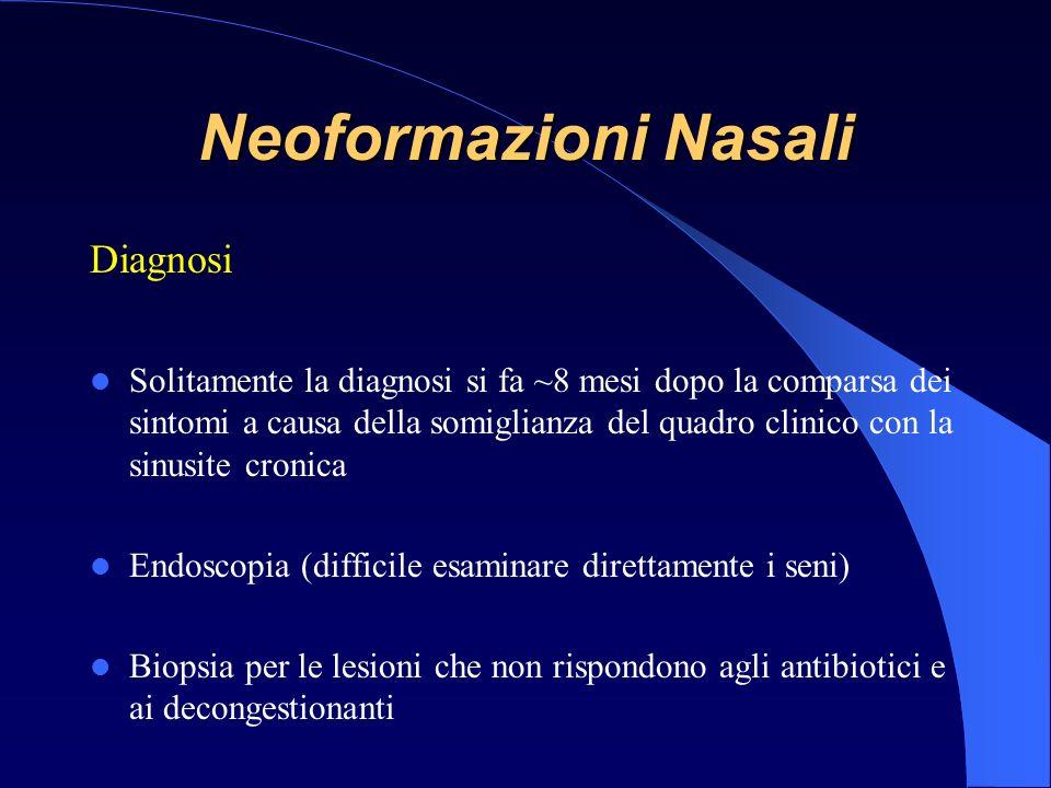 Diagnosi Solitamente la diagnosi si fa ~8 mesi dopo la comparsa dei sintomi a causa della somiglianza del quadro clinico con la sinusite cronica Endoscopia (difficile esaminare direttamente i seni) Biopsia per le lesioni che non rispondono agli antibiotici e ai decongestionanti Neoformazioni Nasali