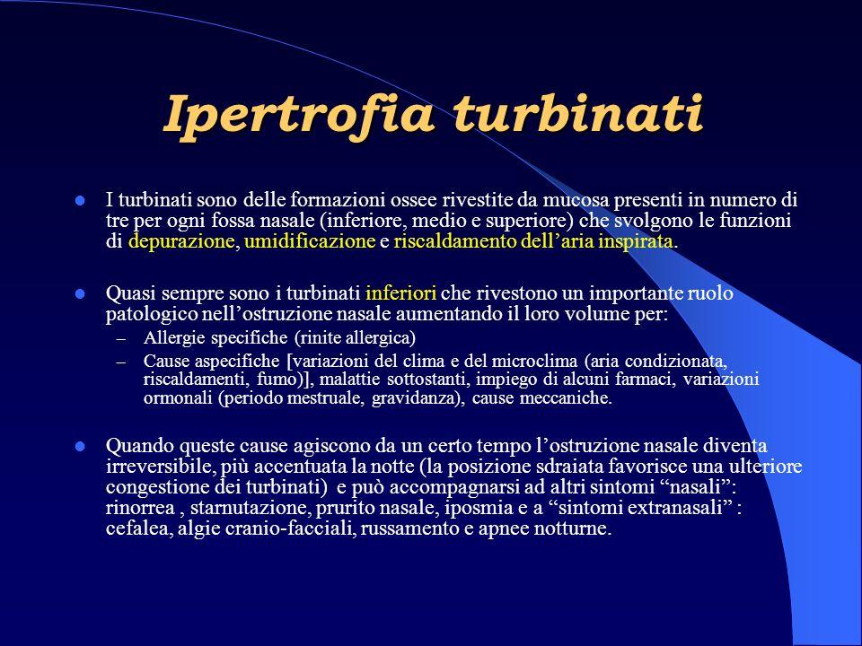 Ipertrofia turbinati I turbinati sono delle formazioni ossee rivestite da mucosa presenti in numero di tre per ogni fossa nasale (inferiore, medio e superiore) che svolgono le funzioni di depurazione, umidificazione e riscaldamento dellaria inspirata.