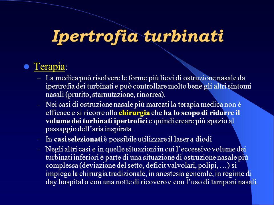 Terapia : – La medica può risolvere le forme più lievi di ostruzione nasale da ipertrofia dei turbinati e può controllare molto bene gli altri sintomi nasali (prurito, starnutazione, rinorrea).