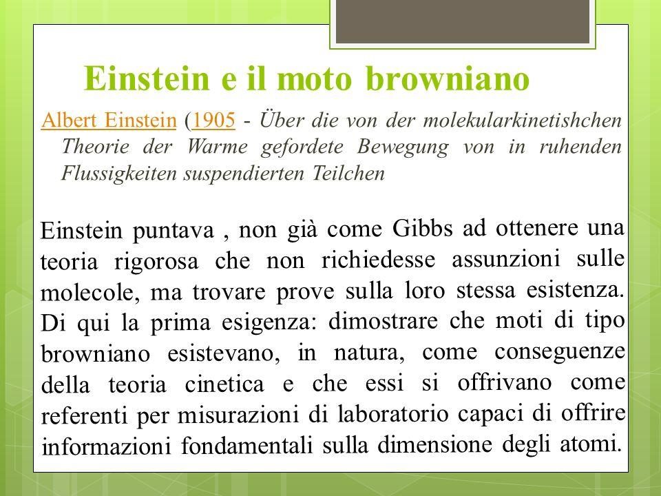 Einstein e il moto browniano Albert EinsteinAlbert Einstein (1905 - Über die von der molekularkinetishchen Theorie der Warme gefordete Bewegung von in