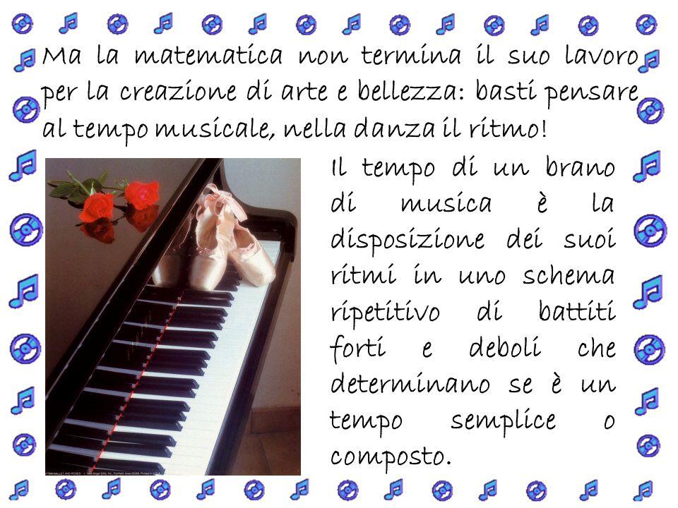 Ma la matematica non termina il suo lavoro per la creazione di arte e bellezza: basti pensare al tempo musicale, nella danza il ritmo.