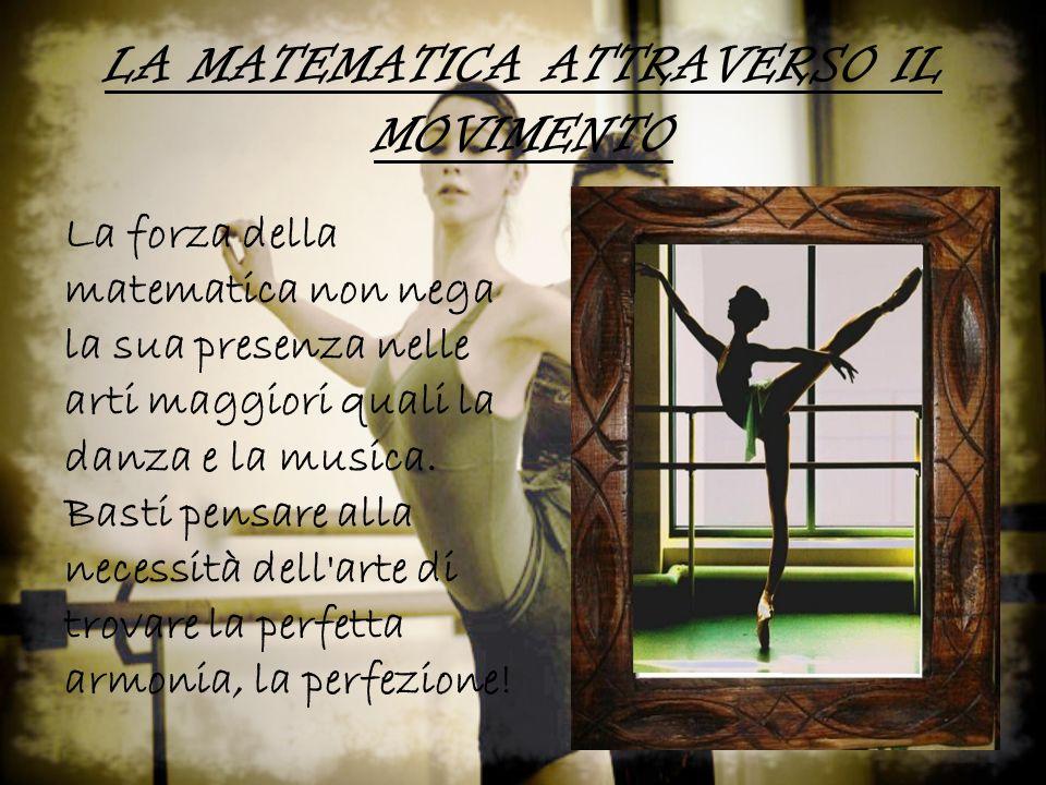 LA MATEMATICA ATTRAVERSO IL MOVIMENTO La forza della matematica non nega la sua presenza nelle arti maggiori quali la danza e la musica.