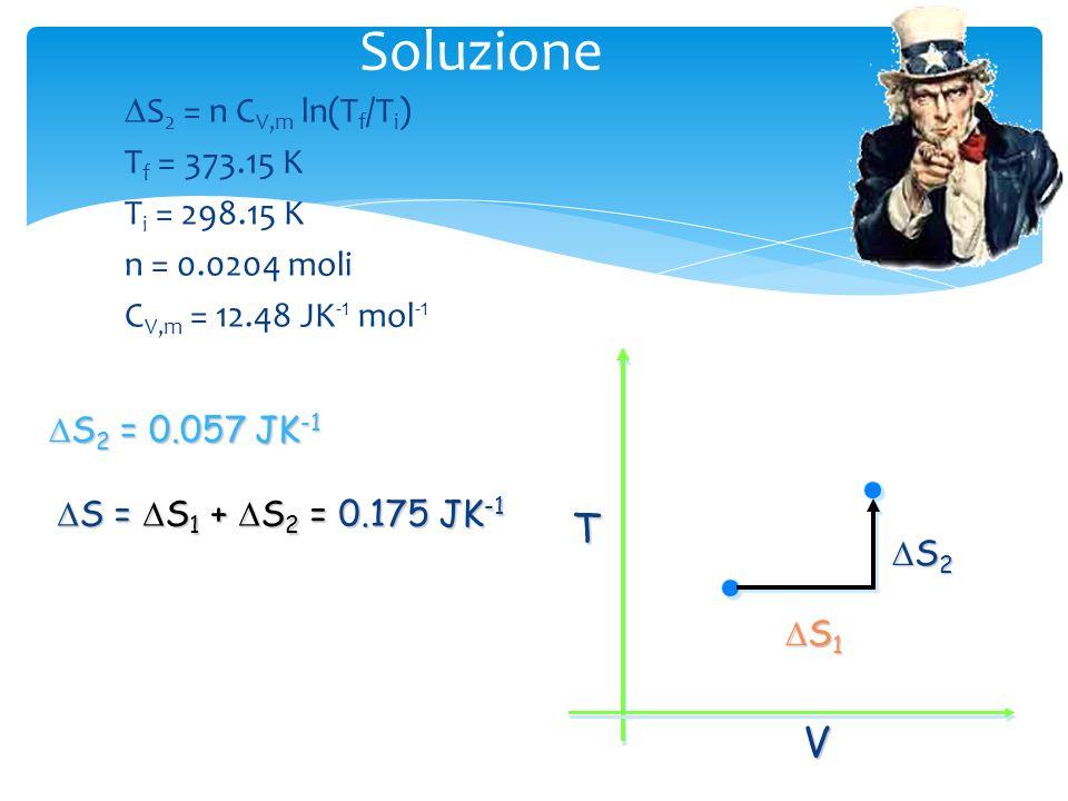 Soluzione Per il cammino prescelto, S = S 1 + S 2 (isoterma + isocora) S 1 : (500 cm 3, 25 °C), (1000 cm 3, 25 °C) S 2 : (1000 cm 3, 25 °C), (1000 cm