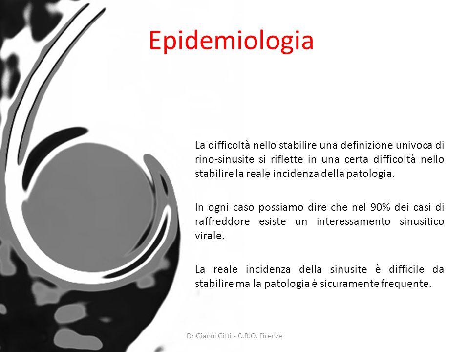 Epidemiologia La difficoltà nello stabilire una definizione univoca di rino-sinusite si riflette in una certa difficoltà nello stabilire la reale inci