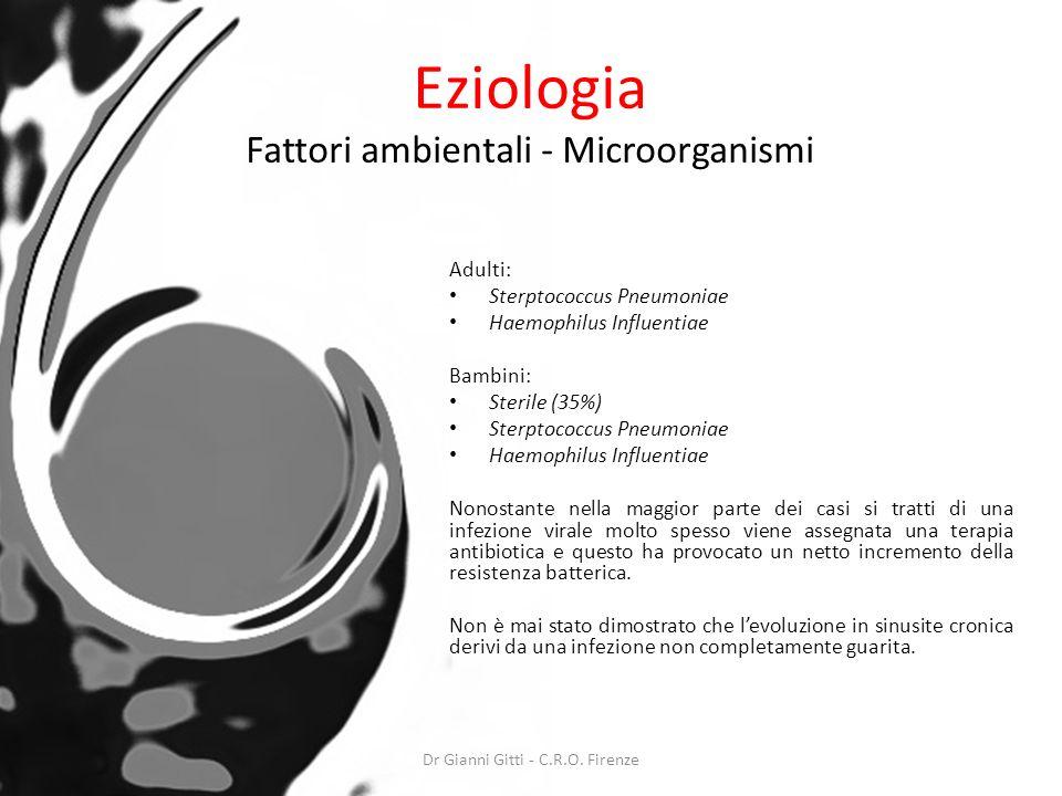 Eziologia Fattori ambientali - Microorganismi Adulti: Sterptococcus Pneumoniae Haemophilus Influentiae Bambini: Sterile (35%) Sterptococcus Pneumoniae