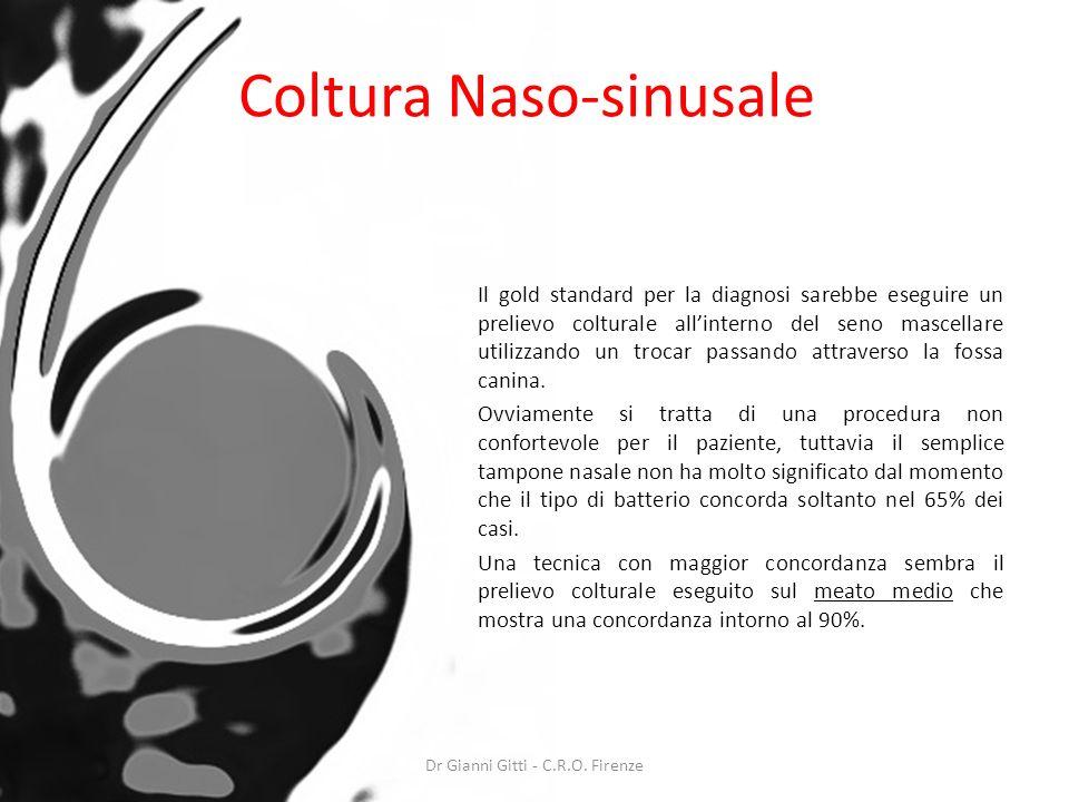 Coltura Naso-sinusale Il gold standard per la diagnosi sarebbe eseguire un prelievo colturale allinterno del seno mascellare utilizzando un trocar pas